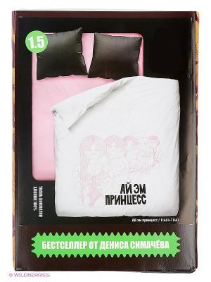 Комплект постельного белья Симачев. Цвет: розовый, черный