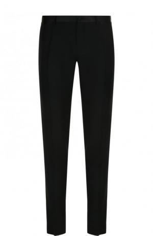 Шерстяные вечерние брюки с шелковой отделкой Dolce & Gabbana. Цвет: черный