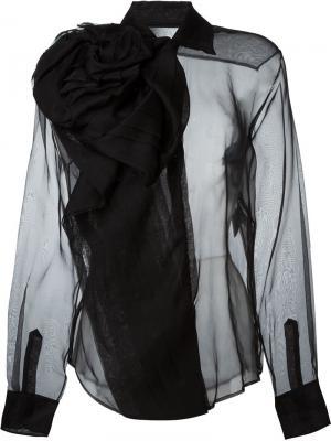 Прозрачная блузка Christian Dior Vintage. Цвет: чёрный