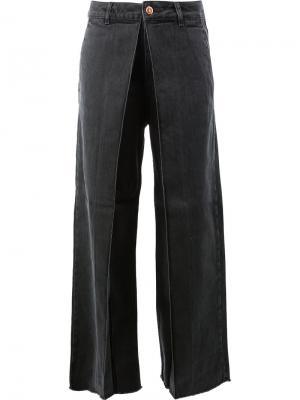 Асимметричные длинные брюки Aalto. Цвет: чёрный