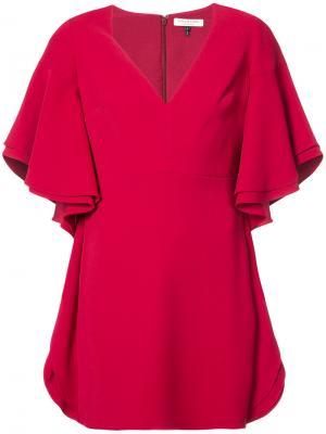 Платье с широкими рукавами Halston Heritage. Цвет: красный