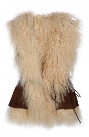 Кожаный жилет с меховой отделкой Petit Nord. Цвет: светло-коричневый