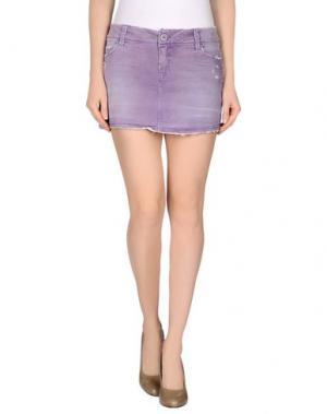 Джинсовая юбка JFOUR. Цвет: фиолетовый