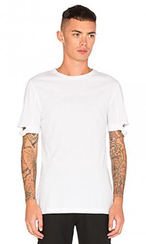 Обычная футболка с вырезами на манжетах рукавов Helmut Lang. Цвет: белый
