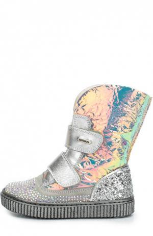 Кожаные ботинки со стразами Missouri. Цвет: серебряный