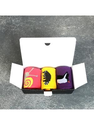 Носки, 3 пары Big Bang Socks. Цвет: темно-фиолетовый, желтый, коралловый