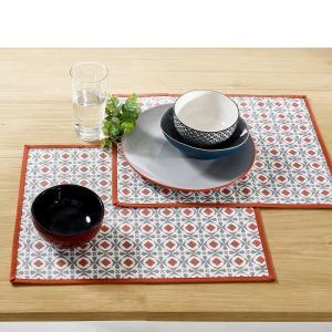 Подложка под столовые приборы с пропиткой HELIA из полихлопка (2 шт.) La Redoute Interieurs. Цвет: серый/ оранжевый
