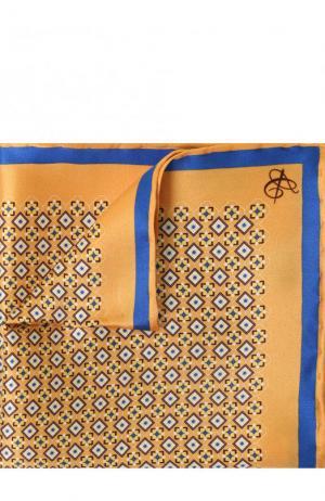Шелковый платок с узором Canali. Цвет: желтый