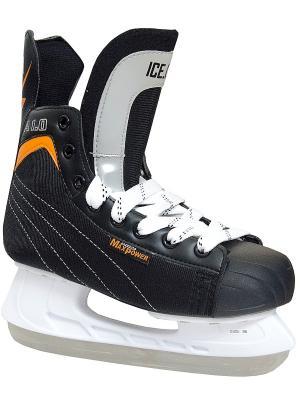 Коньки ледовые хоккейные  ICE COM А1.0 ICE.COM. Цвет: черный, оранжевый