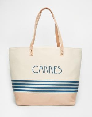Thursday Friday Холщовая пляжная сумка с полосками. Цвет: белый