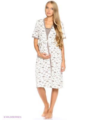 Комплект: халат и сорочка EUROMAMA. Цвет: кремовый, бежевый