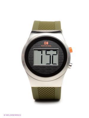 Часы HUGO BOSS. Цвет: хаки, серебристый, черный
