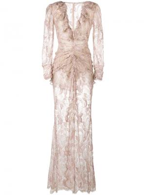 Кружевное платье со сборкой Alessandra Rich. Цвет: розовый и фиолетовый