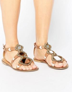 Park Lane Кожаные сандалии с зеркальной отделкой. Цвет: рыжий