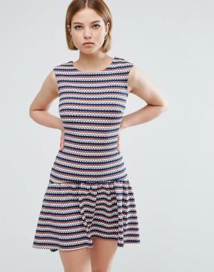 Closet London Асимметричное платье в полоску. Цвет: мульти