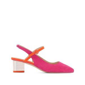 Балетки из кожи на прозрасном каблуке La Redoute Collections. Цвет: розовый фуксия,синий/ зеленый