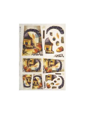 Декупажная карта 32*45 камин Idigo. Цвет: сиреневый, прозрачный