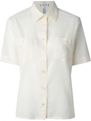 Рубашка с нагрудными карманами Céline Vintage. Цвет: телесный