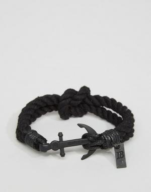Icon Brand Черный тканый браслет с якорем. Цвет: черный