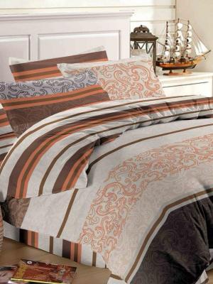 Комплект постельного белья семейный Ля Мур. Цвет: серый, коричневый, оранжевый