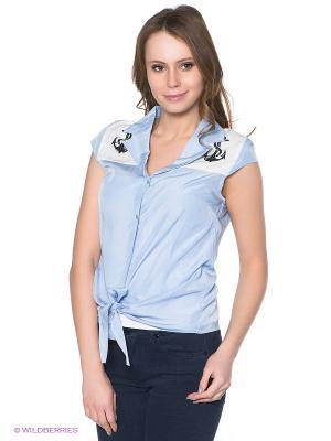 Блузка Neohit. Цвет: голубой, белый