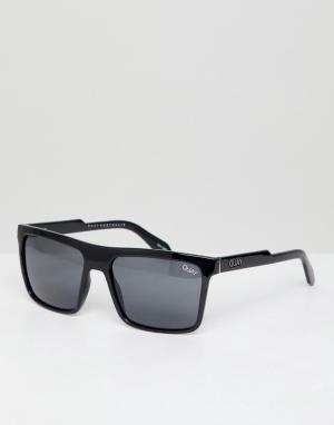Quay Australia Черные квадратные солнцезащитные очки Let It Run. Цвет: черный