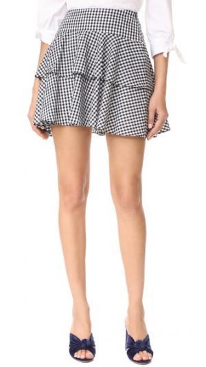 Многоуровневая юбка Rayan WAYF. Цвет: черно-белая клетка гингем