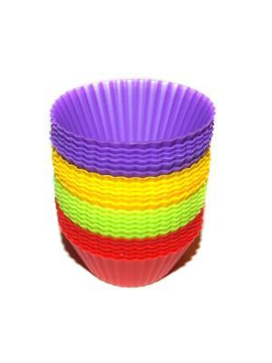 Набор силиконовых форм для кексов и маффинов, 24 шт DiMi. Цвет: фиолетовый, желтый, зеленый