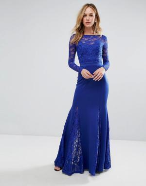 City Goddess Платье макси с юбкой годе и кружевной отделкой. Цвет: синий