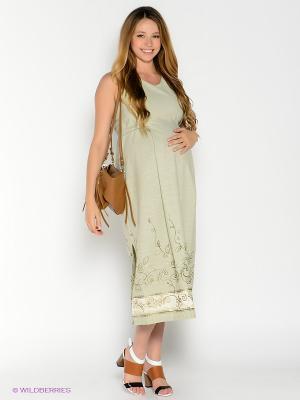Платье для беременных 40 недель. Цвет: светло-зеленый