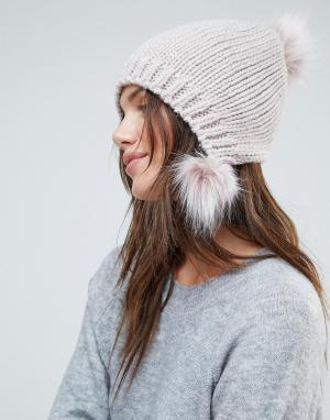 Urbancode Розовая шапка-бини с помпоном Triple. Цвет: розовый