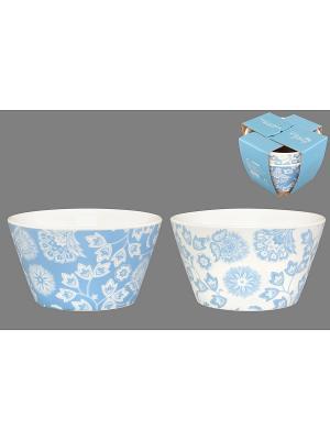 Набор салатников  Цветы бело-голубые Elan Gallery. Цвет: голубой, белый