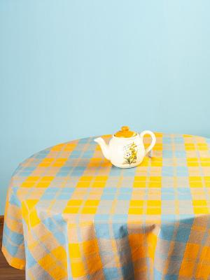 Скатерть ARLONI. Цвет: серо-голубой, светло-коричневый