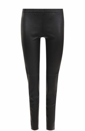 Кожаные брюки-скинни с эластичным поясом MICHAEL Kors. Цвет: черный