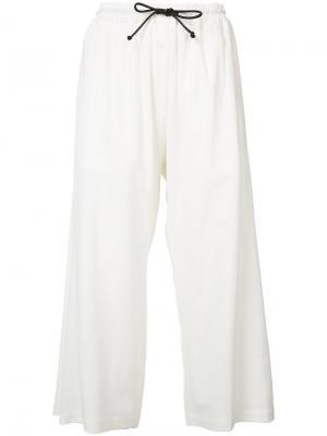 Укороченный брюки на шнурке Isabel Benenato. Цвет: белый