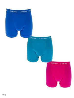 Трусы, 3 шт. Calvin Klein. Цвет: голубой, бирюзовый, розовый