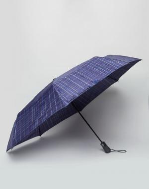 Fulton Темно-синий зонт в клетку Open & Close. Цвет: синий