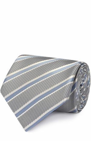 Шелковый галстук в полоску Brioni. Цвет: светло-голубой