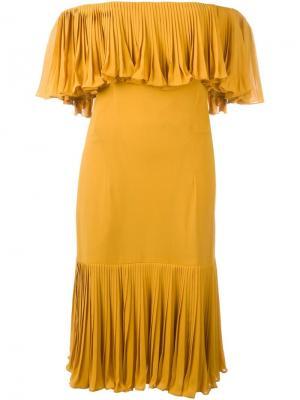 Платье с открытыми плечами Jean Louis Scherrer Vintage. Цвет: жёлтый и оранжевый