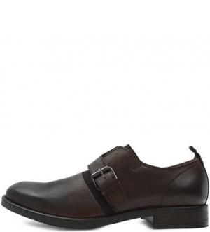 Коричневые кожаные туфли монки Diesel. Цвет: коричневый