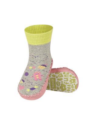 Тапочки-носочки Soxo. Цвет: светло-серый, розовый