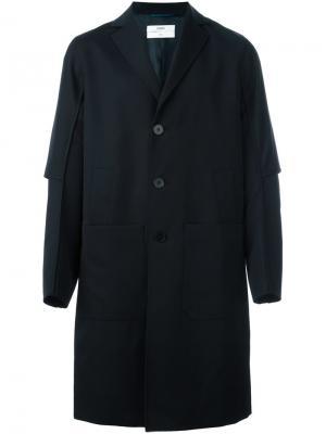 Пальто с простроченной отделкой Oamc. Цвет: синий