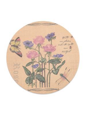 Подставка под горячую чашку ,круглая Роза DAVANA. Цвет: светло-зеленый, голубой, бежевый, розовый