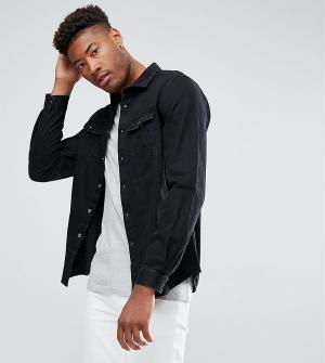 ASOS Черная джинсовая рубашка навыпуск с вельветовым воротником TALL. Цвет: черный