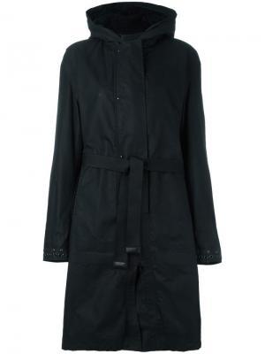 Пальто с капюшоном и поясом Ahirain. Цвет: чёрный