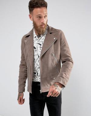 Black Dust Серо-коричневая замшевая байкерская куртка. Цвет: светло-бежевый