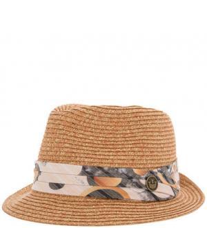 Плетеная бумажная шляпа с лентой Goorin Bros.. Цвет: оранжевый