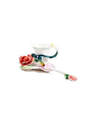 Подарочный чайный набор Роза на 1 персону Русские подарки. Цвет: белый, зеленый, красный