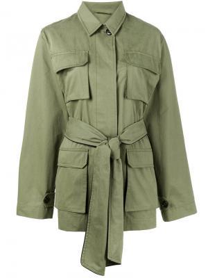 Куртка Fabre с поясом Ganni. Цвет: зелёный