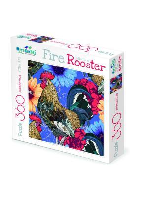 Пазл Символ Года. FireRooster  Акварельные петухи. Origami. Цвет: желтый, красный, фиолетовый